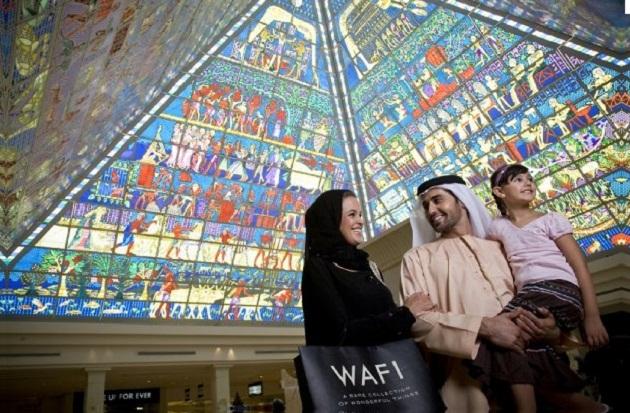 Wafi Mall in Dubai. Архитектура данного центра выполнена в египетском стиле