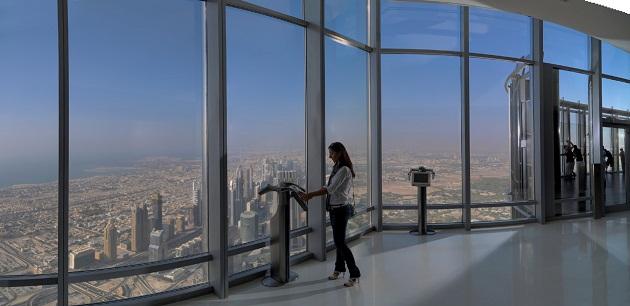 В ясный день со смотровой площадки Бурдж Халифа открывается обзор на 80 км вокруг